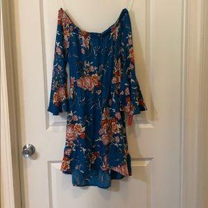 Blue Floral Off the Shoulder Flare Sleeve Dress